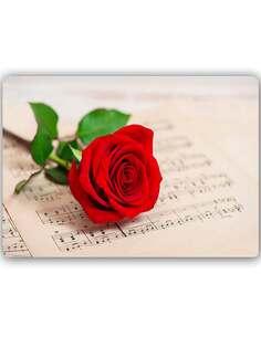 Plaque acier décorative ROSE SUR DES NOTES - par Feeby