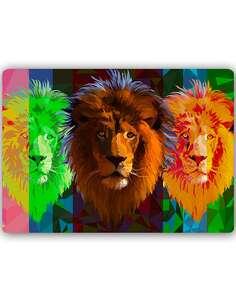 Plaque acier décorative TROIS LIONS - par Feeby