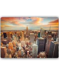 Plaque acier décorative COUCHER DE SOLEIL SUR NEW YORK, - par Feeby