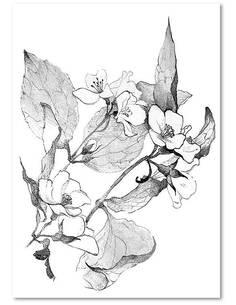 Tableau BRANCHES EN FLEURS imprimé sur bois - par Feeby