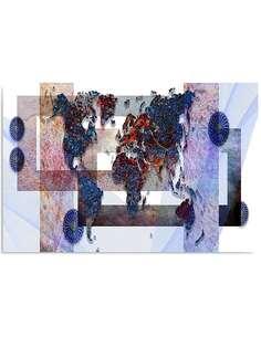 Tableau LA COMPOSITION D'UNE CARTE DU MONDE 3 imprimé sur bois - par Feeby