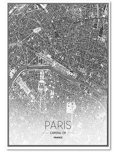 Tableau CARTE DE PARIS imprimé sur bois - par Feeby