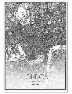 Tableau CARTE DE LONDRES imprimé sur bois - par Feeby