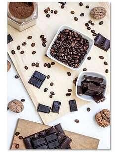 Tableau CAFÉ, NOIX DE CHOCOLAT imprimé sur bois - par Feeby