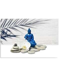 Tableau BLUE BUDDHA SUR LES ROCHERS imprimé sur bois - par Feeby
