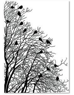 Tableau 2 OISEAUX SUR LES BRANCHES imprimé sur bois - par Feeby