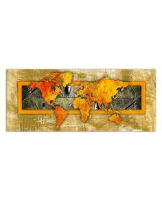 Tableau ORANGE CARTE DU MONDE - JOURNAL imprimé sur bois - par Feeby