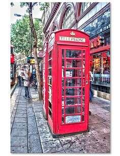 Tableau LONDRES - CABINES TÉLÉPHONIQUES À R KULIK imprimé sur bois - par Feeby