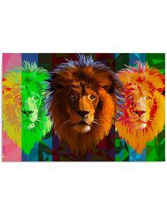 Tableau TROIS LIONS imprimé sur bois - par Feeby