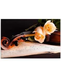Tableau VIOLON ROSES imprimé sur bois - par Feeby