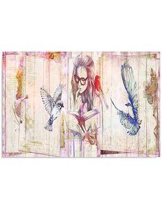 Tableau FILLE AVEC LE LIVRE imprimé sur toile - par Feeby