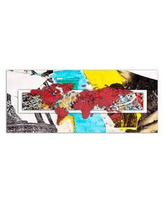 Tableau ROUGE CARTE DU MONDE ABSTRACTION imprimé sur toile - par Feeby