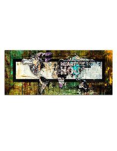 Tableau CARTE DU MONDE ABSTRACTION imprimé sur toile - par Feeby