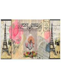 Tableau CARTE POSTALE DE PARIS imprimé sur toile - par Feeby