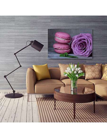 Tableau MACARONS ET ROSE imprimé sur toile - par Feeby