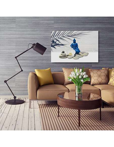 Tableau BLUE BUDDHA SUR LES ROCHERS imprimé sur toile - par Feeby