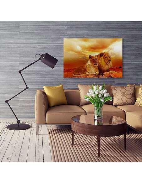 Tableau UNE PAIRE DE LIONS imprimé sur toile - par Feeby