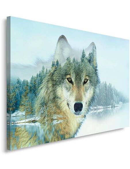 Tableau WOLF LAKE imprimé sur toile - par Feeby