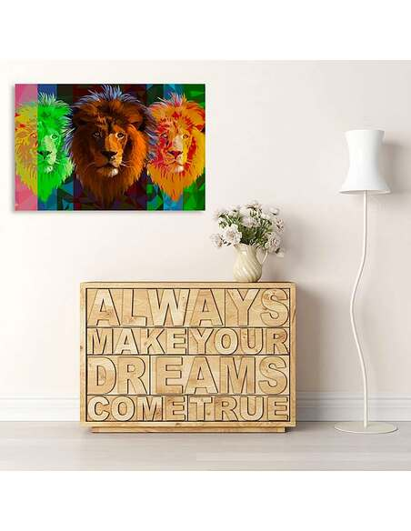Tableau TROIS LIONS imprimé sur toile - par Feeby