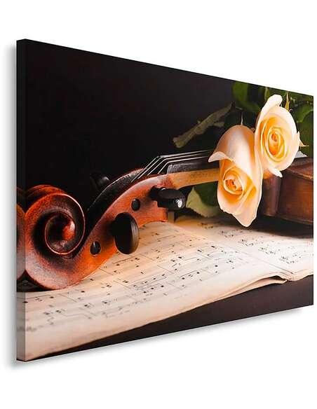 Tableau VIOLON ROSES imprimé sur toile - par Feeby