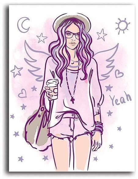 Tableau HIPSTER GIRL 2 imprimé sur toile - par Feeby