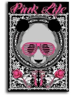Tableau LA VIE ROSE OURS EN PELUCHE imprimé sur toile - par Feeby