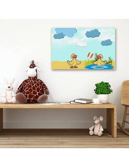 Tableau DEUX CANARDS imprimé sur toile - par Feeby
