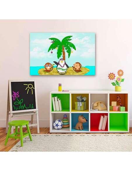 Tableau SINGE ET PINGOUIN imprimé sur toile - par Feeby