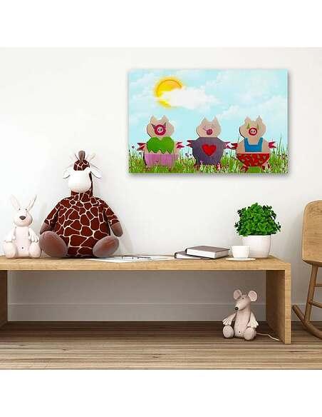 Tableau TROIS PETITS COCHONS imprimé sur toile - par Feeby