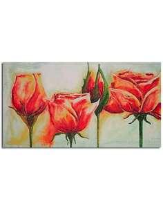 Tableau FLEURS ROSE imprimé sur toile - par Feeby