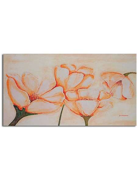 Tableau LUMINEUX FLEURS ORANGE imprimé sur toile - par Feeby