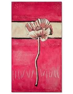 Tableau FLEUR DE PAVOT SUR UN FOND ROSE imprimé sur toile - par Feeby