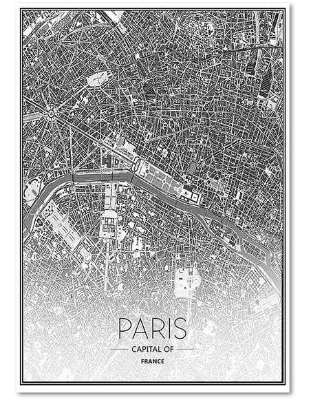 Tableau CARTE DE PARIS imprimé sur toile - par Feeby