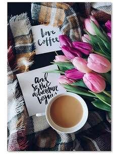 Tableau L'AMOUR DU CAFÉ imprimé sur toile - par Feeby