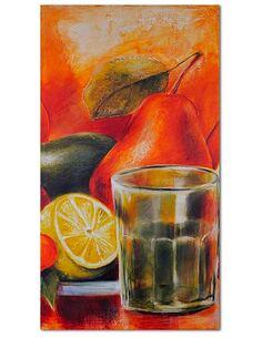 Tableau FRUITS FRAIS ET UN VERRE imprimé sur toile - par Feeby