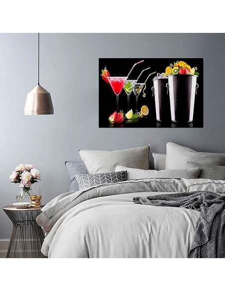 Tableau DES BOISSONS ET DES FRUITS imprimé sur toile - par Feeby