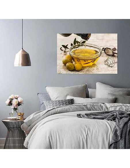 Tableau L'HUILE D'OLIVE ET LES OLIVES imprimé sur toile - par Feeby