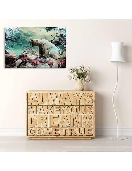 Tableau OURS BLANC imprimé sur toile - par Feeby