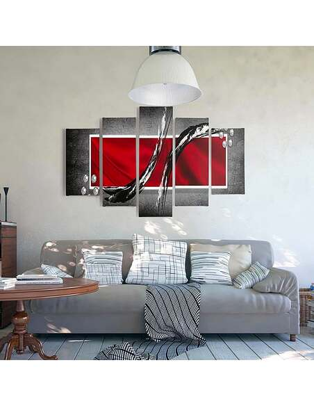 Composition de 5 tableaux RÉSUMÉ 2 imprimé sur toile - par Feeby