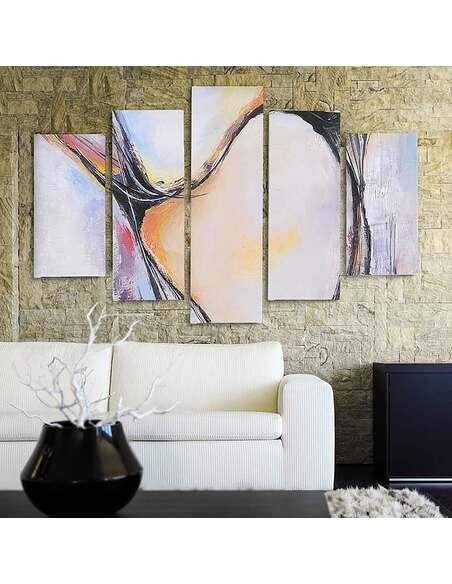 Composition de 5 tableaux 35 ABSTRACTION imprimé sur toile - par Feeby