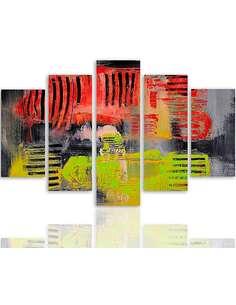 Composition de 5 tableaux 38 ABSTRACTION imprimé sur toile - par Feeby