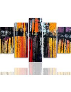 Composition de 5 tableaux 55 ABSTRACTION imprimé sur toile - par Feeby