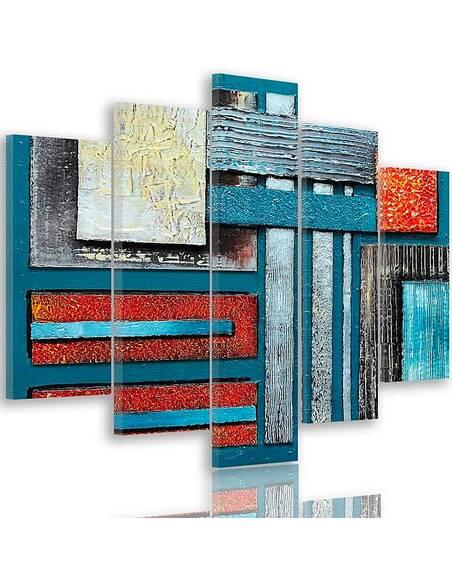 Composition de 5 tableaux 59 ABSTRACTION imprimé sur toile - par Feeby