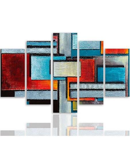 Composition de 5 tableaux 61 ABSTRACTION imprimé sur toile - par Feeby