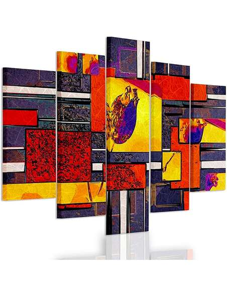 Composition de 5 tableaux ABSTRACTION GÉOMÉTRIQUE 1 imprimé sur toile - par Feeby