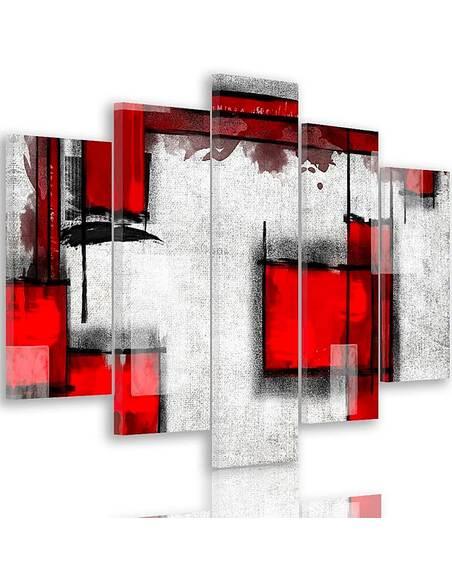 Composition de 5 tableaux ABSTRACTION GÉOMÉTRIQUE 5 imprimé sur toile - par Feeby
