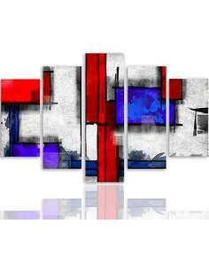 Composition de 5 tableaux ABSTRACTION GÉOMÉTRIQUE 6 imprimé sur toile - par Feeby