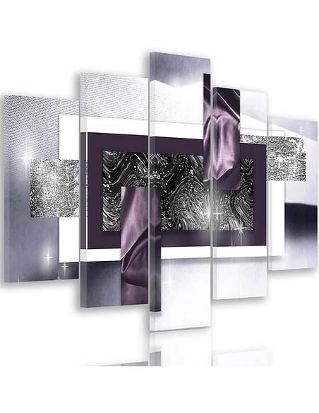 Composition de 5 tableaux ESPACE ABSTRACTION imprimé sur toile - par Feeby