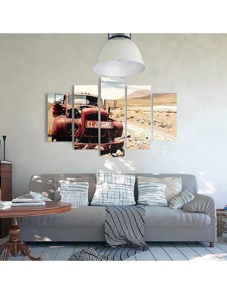 Composition de 5 tableaux CAR DANS LE DÉSERT imprimé sur toile - par Feeby