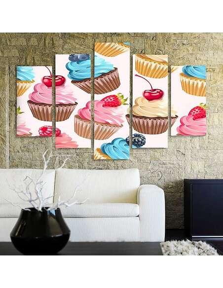 Composition de 5 tableaux MUFFINS FRUITS imprimé sur toile - par Feeby